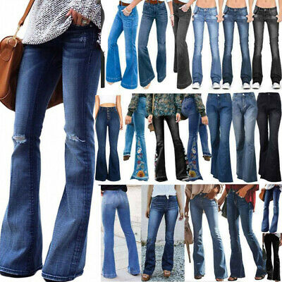 £21.46 • Buy Womens High Waist Skinny Flared Jeans Ladies Stretchy Denim Trousers Bell Pants