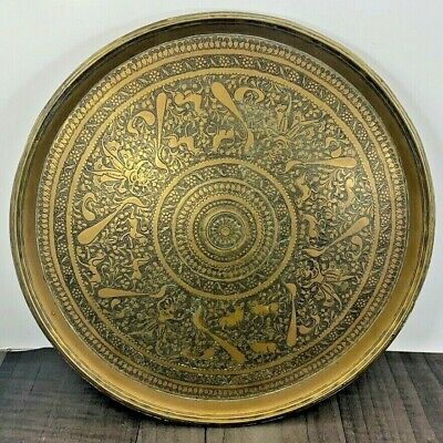 £88.49 • Buy Authentic Vintage Indian Heavy Brass Convex Decorative Plate Tray Ornate Rare