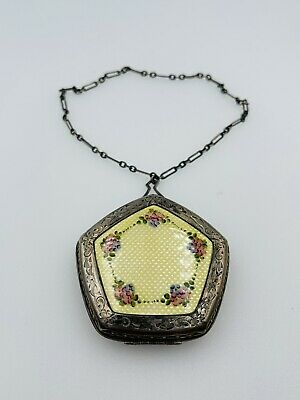 £256.04 • Buy Antique Victorian Sterling Silver Yellow Enamel Guilloche Handled Compact Case