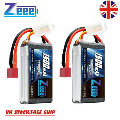 £24.99 • Buy 2XZeee 7.4V Lipo Battery 2S 1500mAh 60C Deans For RC Car Truck Truggy Helicopter