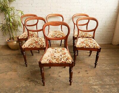£199.99 • Buy 6 Antique Victorian Solid Mahogany Floral Upholstered Balloon Back Dining Chairs