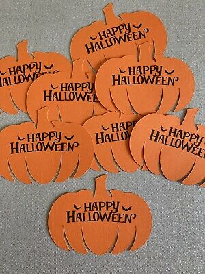 £2.95 • Buy 8 Happy Halloween Pumpkin Decorations Card Craft Embellishments Toppers