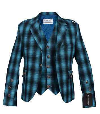 £100 • Buy Blue And Black Pure Wool Argyll Jacket With Waistcoat/Vest