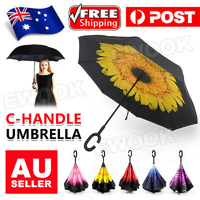 AU16.95 • Buy Windproof Upside Down Reverse Umbrella C-Handle Double Layer Inside-Out Inverted