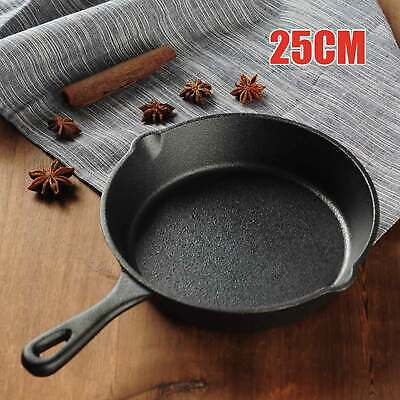 £11.99 • Buy Cast Iron Pre Seasoned Skillet Frying Grill Pan Griddle BBQ Induction Cookware