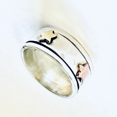 £22 • Buy Sterling Silver Stars Spinning Ring Textured Worry Stress Ring 3 Tone Size N 1/2
