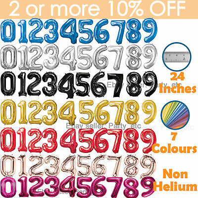 £1.85 • Buy 24  Giant Foil Number Balloons Large Birthday Age Party Air Non Helium Large