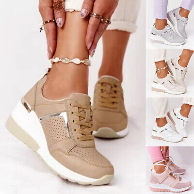 £16.99 • Buy Ladies Wedge Trainers Womens Sneakers Lace Up Comfy Classic Jogging Pumps Shoes
