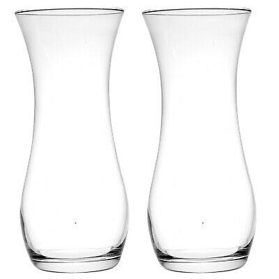 £11.99 • Buy 2 X Tall Round Concave Clear Glass Flower Vases Wedding Table Home Decorations