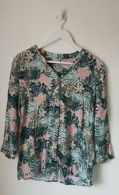 £5.99 • Buy Ladies Blouse Top Floral Green Pink From Damart Uk Size 16