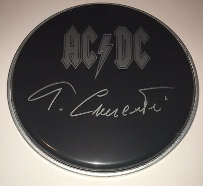 """£99.99 • Buy Signed Tony Currenti Acdc 8"""" Black Drum Head Authentic Rare Angus Young"""