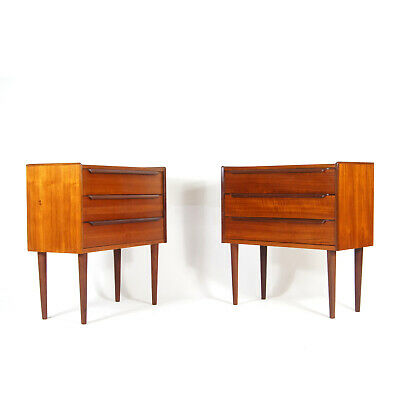 £845 • Buy Pair Of Retro Vintage Danish Teak Bedside Tables Cabinets 1960s Chest Of Drawers