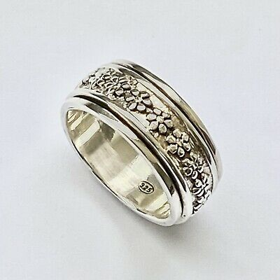£22.99 • Buy 925 Sterling Silver Forget Me Not Spinning Ring Worry Stress Thumb Ring Size Q
