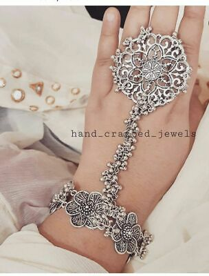 £12.50 • Buy New Indian Traditional Bollywood Silver Hand Bracelet With Ring Beautiful Set