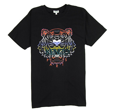 AU99 • Buy KENZO Men's T-Shirt With Gradient Tiger On Front In BLACK Crew Neck BNWT