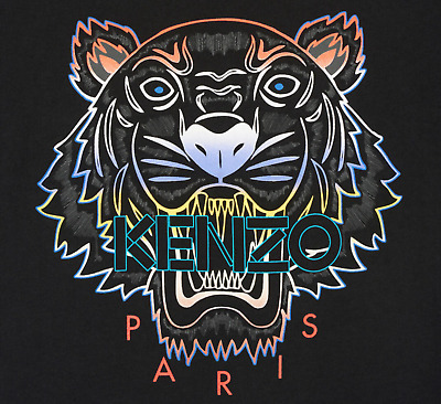 AU99 • Buy KENZO Men's T-Shirt With Gradient Tiger On Front S-XXL In BLACK Crew Neck BNWT