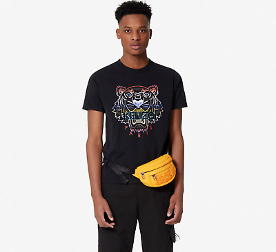 AU99 • Buy KENZO Men's T-Shirt With Gradient Tiger On Front Size S-2XL BLACK Crew Neck BNWT