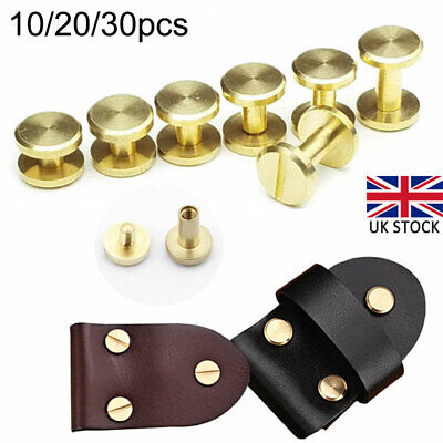 £6.69 • Buy 10x 4mm-8mm Belt Screw Brass Rivets Stud Head Leather Craft Chicago Nail Wallet