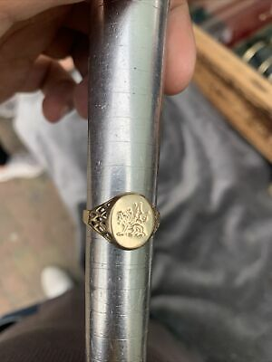 """£105 • Buy """"Superb 9ct Yellow Gold Welsh Dragon Intaglio Seal Ring"""" Size Q"""