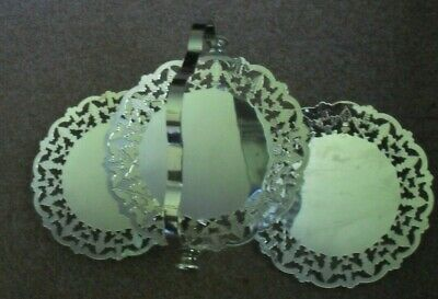 £10.50 • Buy RETRO/VINTAGE SMALL 3 PART Chrome Plated  FOLDING CAKE STAND #