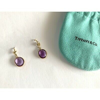 £709.25 • Buy Tiffany & Co. 18k Yellow Gold Paloma Picasso Amethyst Olive Leaf Drop Earrings