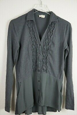 £14.54 • Buy Anthropologie Meadow Rue S Grey Shirt Button Down Pockets Smock Front Voile