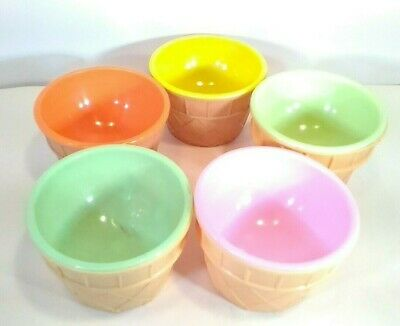 £34.75 • Buy JSNY China Plastic Ice Cream Waffle Cone Cups Bowls Pastel Colors RARE