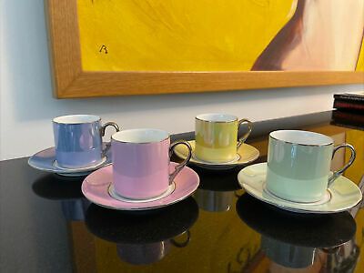 £15 • Buy Set Of 4 Iridescent Espresso Coffee Cups & Saucers Matching
