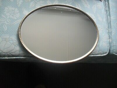 £25 • Buy Vintage REGENT Oval Glass Mirrored Dressing Table Tray + Gold Tone Trim +label #