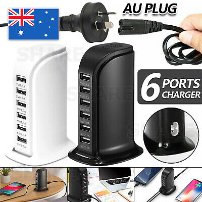 AU18.95 • Buy 30W 6 Multi USB Port Travel Charger Desktop Charging Station Fast Power Adapter