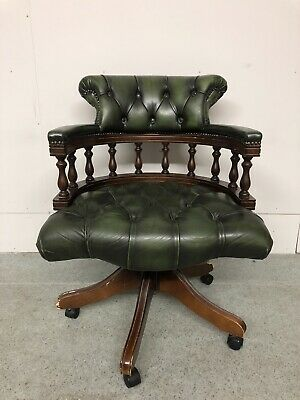 £345 • Buy Stunning Chesterfield Captain's Desk  Chair Traditional Parliament Green Leather