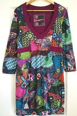 £24.95 • Buy Desigual Tunic Top Size XL Fits 14 - 16 Multicoloured Abstract Long Sleeve