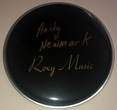 """£99.99 • Buy Signed Andy Newmark 8"""" Black Roxy Music Drum Head Rare Authentic Bryan Ferry"""