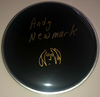"""£99.99 • Buy Signed Andy Newmark 8"""" Black John Lennon Drum Head Rare Authentic Double Fantasy"""
