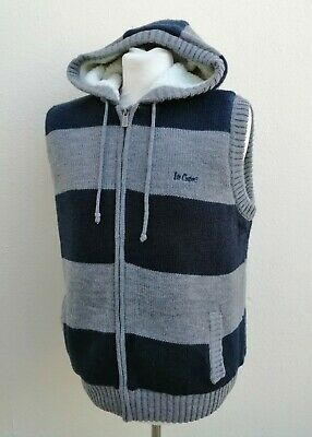 £15 • Buy Lee Cooper Xl Sherpa Lined Grey Navy Blue Striped Knit Zipped Gilet New Bnwt