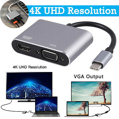 AU16.95 • Buy USB 3.1 4K HD Data Adapter Type C To VGA HDMI HUB Video Converter For Tablet New