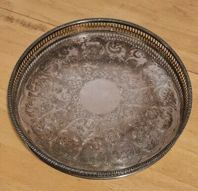 £24.99 • Buy Vintage Viners Of Sheffield Alpha Plate - Silver Plated Chased  Round Tray
