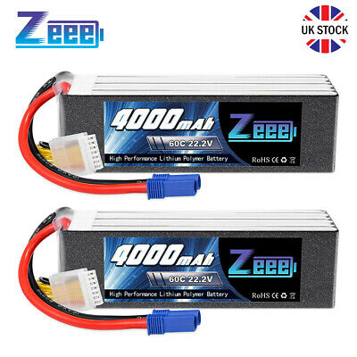 £99.99 • Buy 2X Zeee 6S 22.2V 60C 4000mAh LiPo Battery EC5 For RC Cars Boats Truck Helicopter