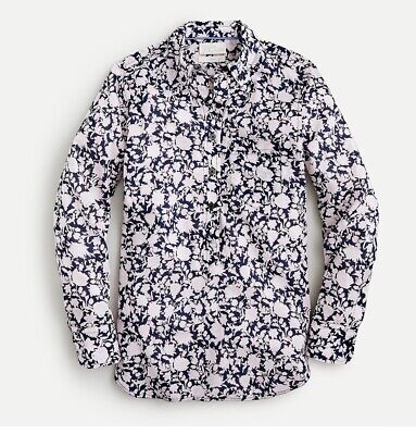 £25.45 • Buy New J Crew Classic Fit Cotton Voile Popover Shirt Rose Vines 22 Navy Pink AY724