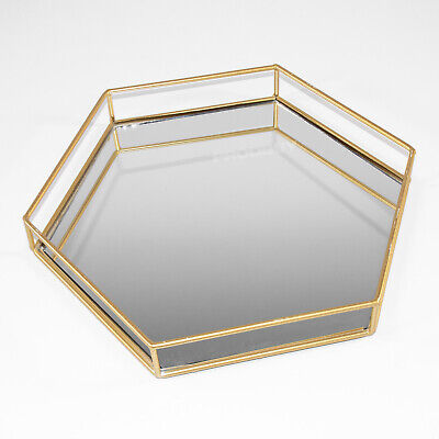 £14.99 • Buy 35.8cm Gold Frame Hexagon Mirror Glass Candle Plate Tray Perfume Vanity Holder