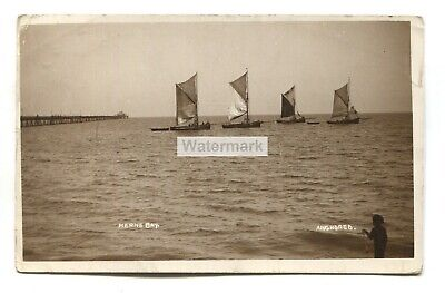 £2.46 • Buy Herne Bay -  Anchored , Sailing Boats And Pier - 1911 Used Real Photo Postcard