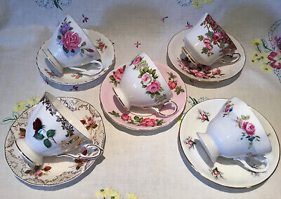 £24.99 • Buy *5 Stunning Vintage 💕mismatched Pink Roses Bone China Tea Set Cups And Saucers*