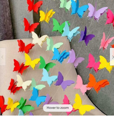 £3.89 • Buy Butterfly Hanging 3D Paper Bunting Christmas Wedding Birthday Party Decoration