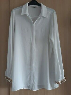 £2 • Buy Miss Selfridge White Shirt Size 10 Gold Studs Rock Chic Glam Party Work