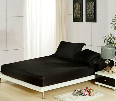 AU39 • Buy Silk Satin Fitted Sheet Double Queen King Size Bedding Mattress Protectors Black
