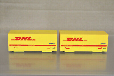 £19.50 • Buy HERPA HO GAUGE 2 X DHL 20 FOOT CONTAINER WAGON LOAD Oa