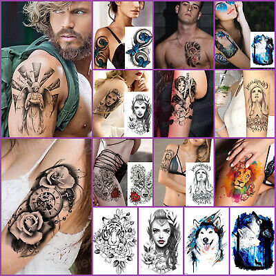 £2.99 • Buy LARGE Womens Temporary Tattoos Lions Wolf Tigers Arm Body Fake Half Sleeve Mens