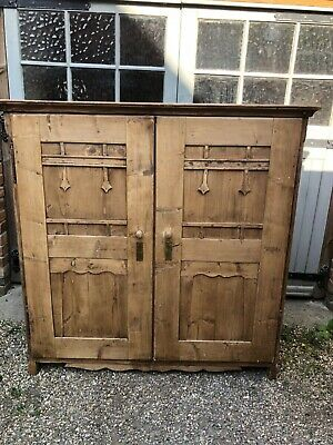 £225 • Buy Lovely Old Large Victorian? Arts-and-crafts? Pine Cabinet, Cupboard, Linen Press