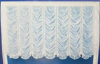 £49.99 • Buy White, FESTOON Handmade Curtain Panel With Frilled Edging 53  X 40 . LAST ONE!