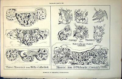 £22 • Buy Old Print Medieval Woodcarving Misereres Wells Cathedral St Michaels 1889 19th